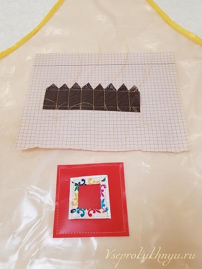 Аппликация из пакетов для фартука девочки