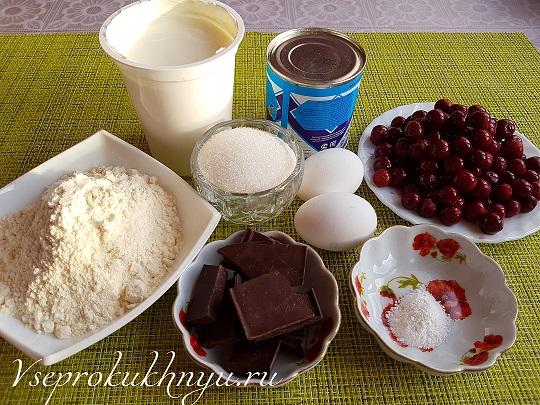 Ингредиенты для торта с вишней со сметанным кремом