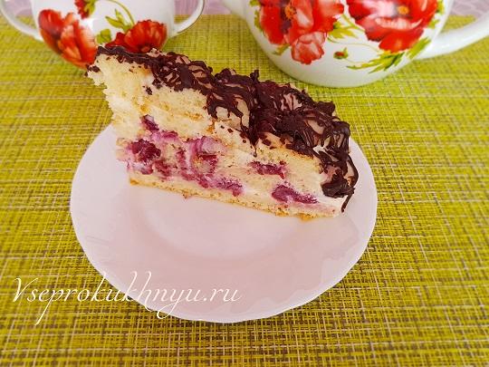 Рецепт торта с вишней и сметанным кремом с фото