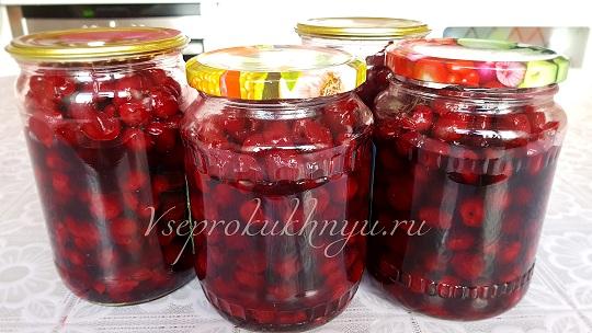 Рецепт вишни в собственном соку на зиму