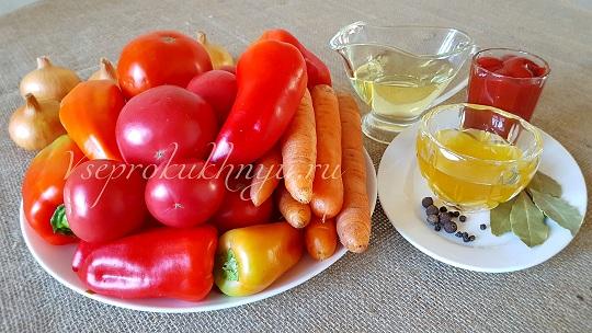 Ингредиенты для лечо из помидор и перца