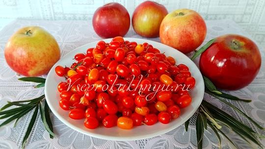 Облепиха и яблоки на варенье