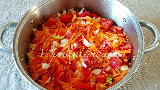 Лечо из помидор, лука, перца, моркови