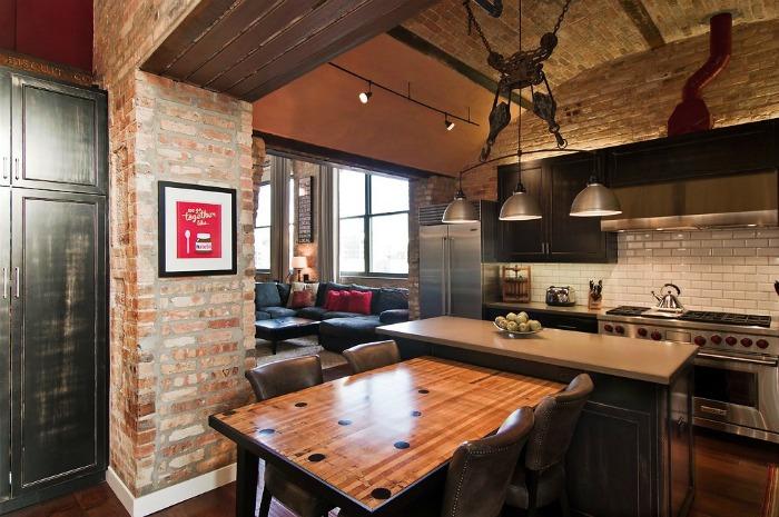 Кухня в стиле лофт- фото