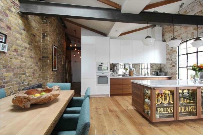 Белая кухня - лофт фото