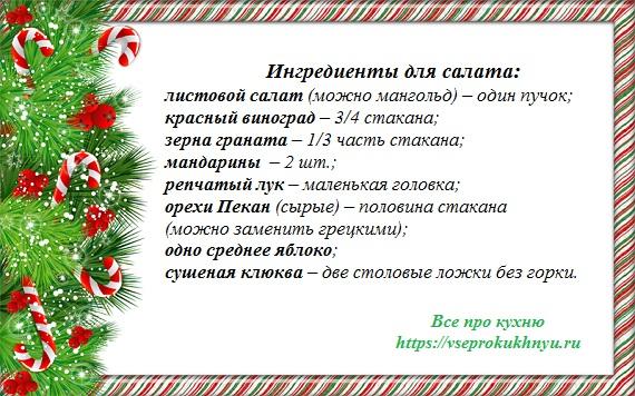 Ингредиенты на салат новогодняя елочка