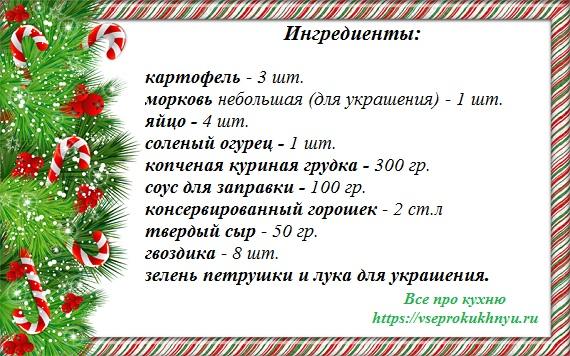 Ингредиенты на салат Поросенок на новый год 2019
