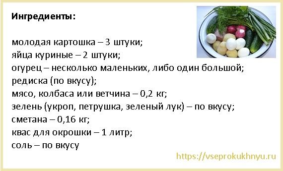Рецепт окрошки на квасе