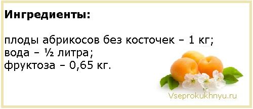 Ингредиенты для варенья из абрикосов на фруктозе