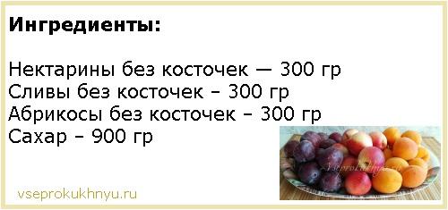 Ингредиенты для варенья из абрикосов, слив и нектарина
