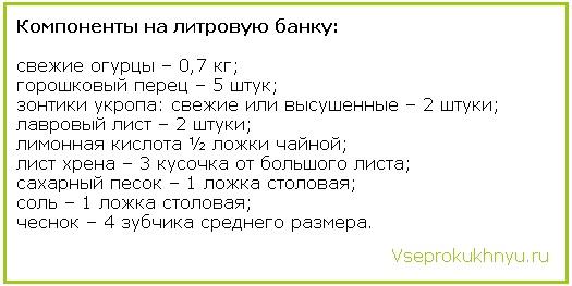 Рецепт маринованных огурцов