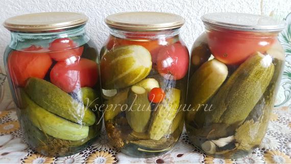 Ассорти из огурцов и помидоров на 1 литр