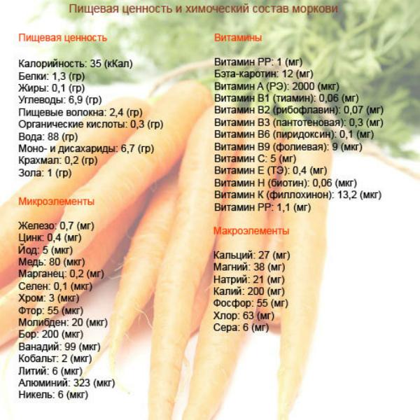 Химический состав моркови