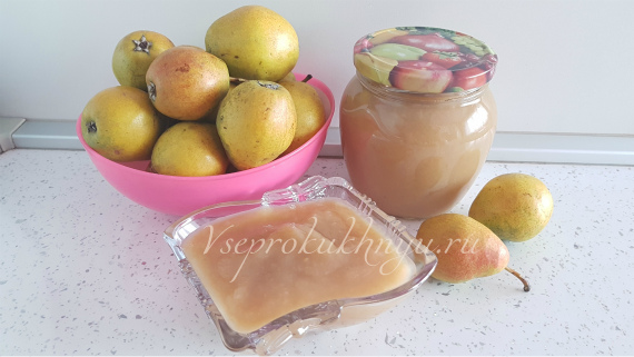 Пюре из груши - рецепт без стерилизации