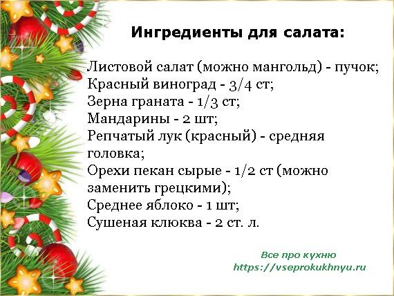 Ингредиенты на салат Елочка