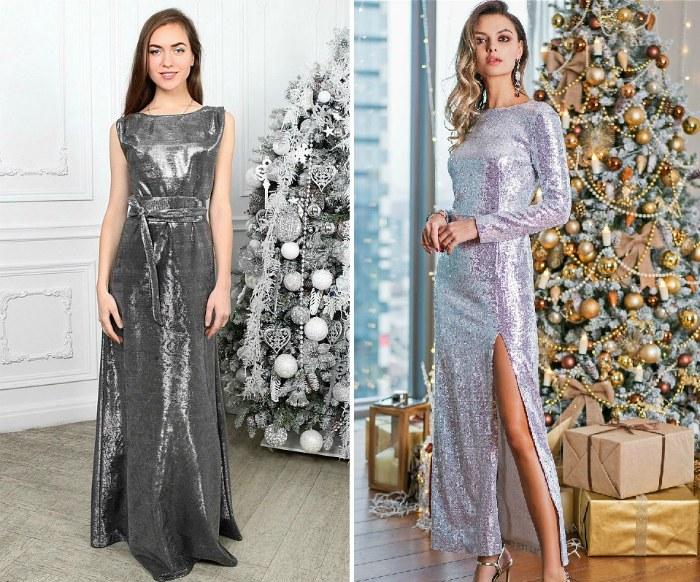 Платья на Новый год серебристого цвета