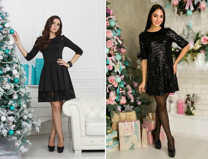 Новогодние платья 2020 в черном цвете