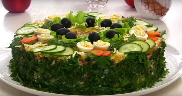 Мясной праздничный салат Сытый Барин