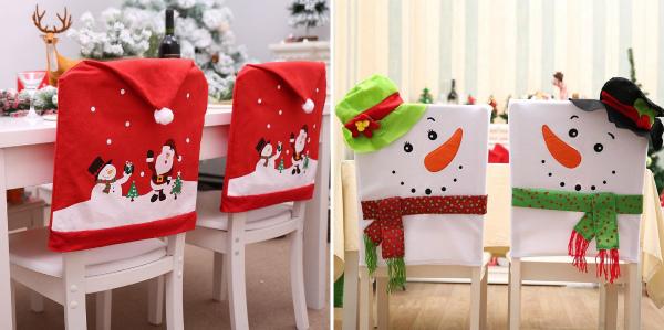 Новогодние чехлы для украшения стульев