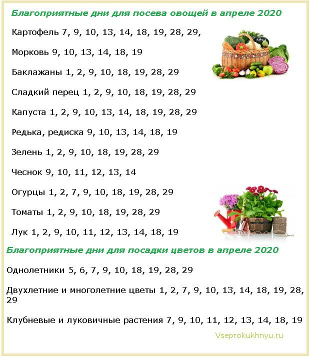 Благоприятные и неблагоприятные дни для посева растений в апреле 2020